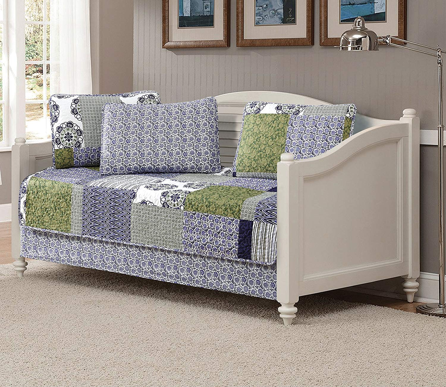 MK Home 5pc Daybed Quilted Coverlet Bedspread Set Patchwork Floral Squares Zig Zag Stripped Purple Green White Navy Blue # Britol