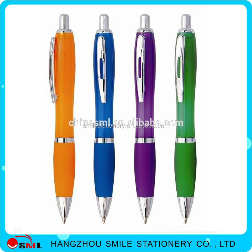 Custom logo plastic clickable ball pen with rubber grip for advertising