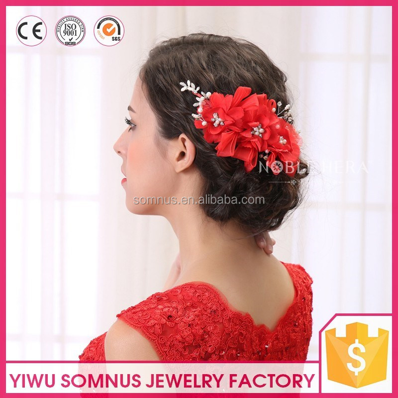 2017 New fashion red wedding bridal headband artifical bead/crystal/flower hairband
