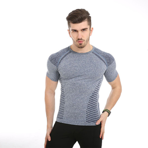Gym compression shirt skin tight mens dry fit mesh bodybuilding wholesale seamless tri blend t shirt