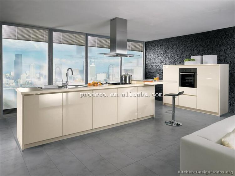 Alto Brillo Gabinete De Cocina Moderna Diseños Con Color Crema ...