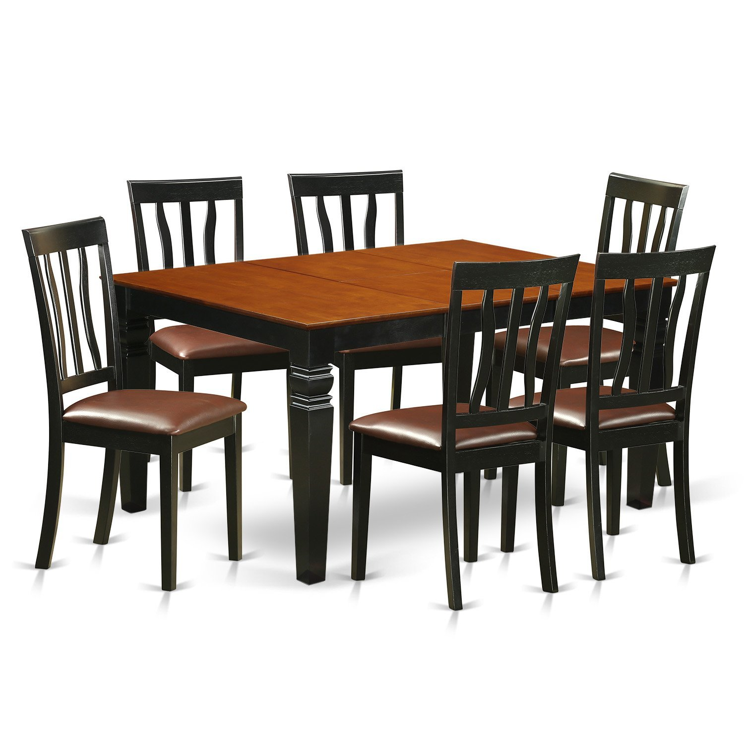 East West Furniture Weston WEAN7-BCH-LC 7 Pc Set with a Dining Table and 6 Leather Kitchen Chairs, Black