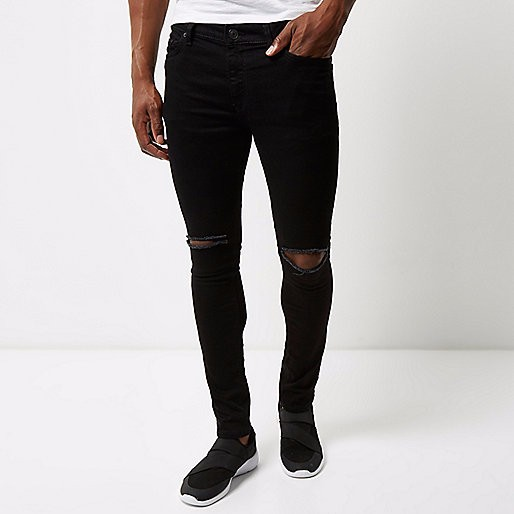 New Fashion Black ripped men's super skinny jeans