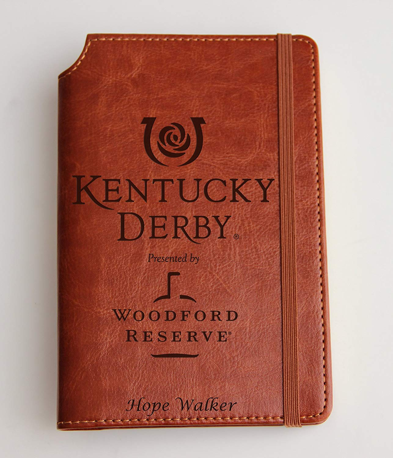 Company Logo Journal laser engraved Journal leather bound, strip with the same color to keep it closed Jack Daniels, Kentucky Derby, woodford Reserve Distillery