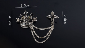 Hot new Vintage Broche Fashion Jewelry silver brooches elegant Crown  Crystal cross suits Lapel Pin Tassel Chain Brooch Men