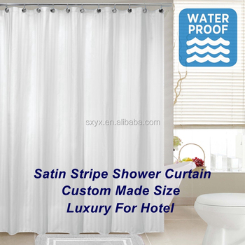 Microfiber Satin Stripe Fabric Shower Curtain Liner Water Proof Hotel Bathroom 72x72inch White