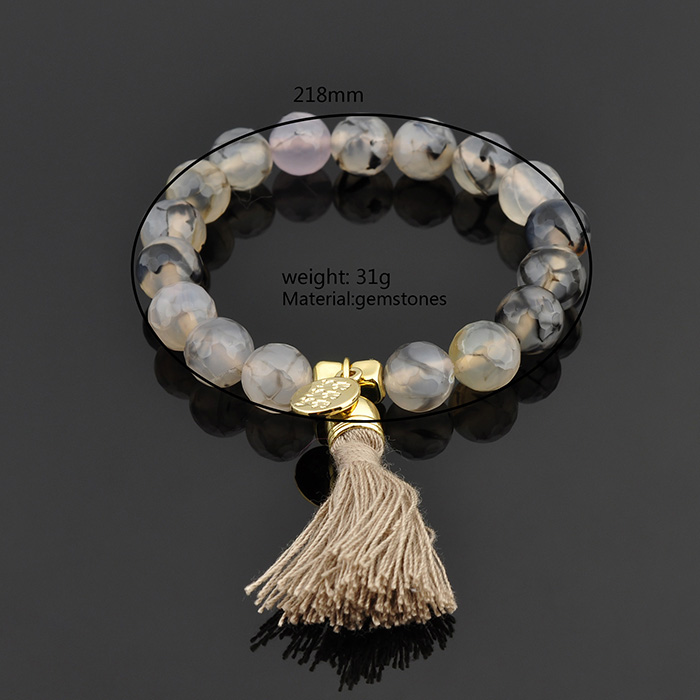 China Wholesale Custom 8 10mm Bead Tassel Charm Natural Stone Bracelets Canada
