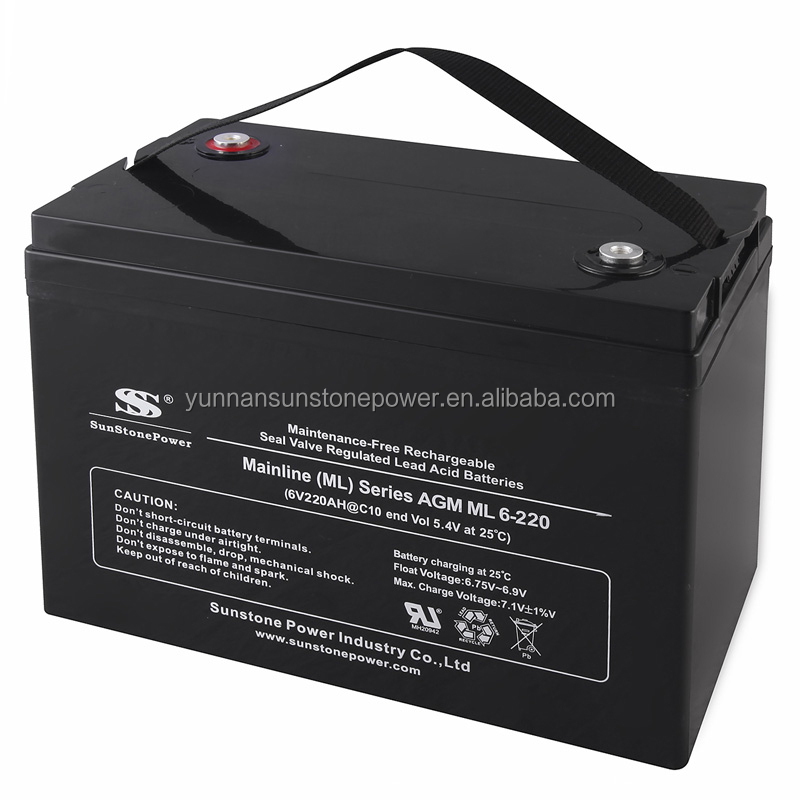 High quality Valve Regulated deep cycle lead acid 6v 220ah AGM smart ups battery