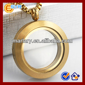 Wholesale 24K Gold Plated Stainless Steel Glass Locket Necklace Jewelry Floating Charms Jewellery Designs Photos