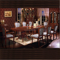 Antique style hand carved wood marble top dinning room table and chairs