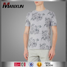Wholesale Clothing Floral Printed Top High Quality Round Collar T-Shirt Simple Casual Short Sleeve Tee For Men