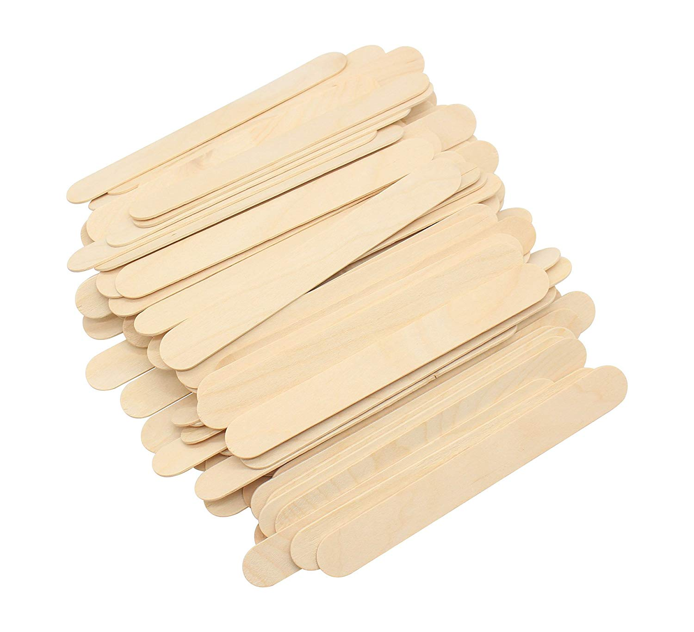 Natural Jumbo Wood Finish Craft Stick Simply Art Wood Craft Sticks Wood Tongue Depressors Sticks 6 inch Length 200 Pcs