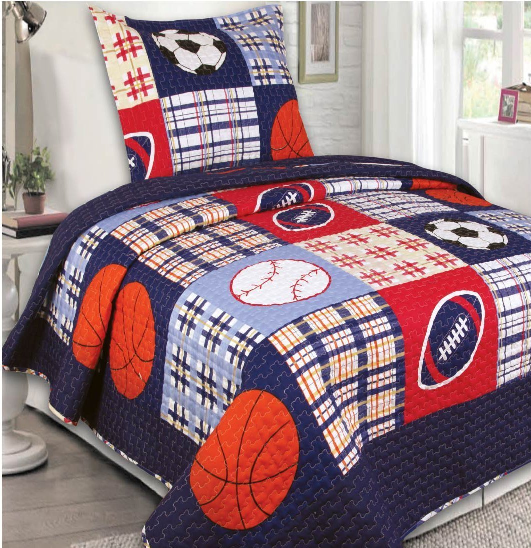 Fancy Collection 2pc Twin Size Quilted Bedspread Set Sports Baseball Football Basketball Soccer Navy Blue Light Blue White Black Red Orange Off White New