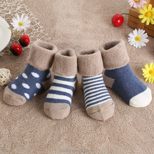 winter striped dot shads terry socks thick warm children infant boys and girls baby socks cotton new born socks