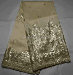 AG303#3 Indian George Fabric Silk african sequins george lace african swiss voile lace