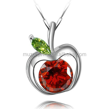 Womens 100 925 sterling silver red apple pendant for necklace womens 100 925 sterling silver red apple pendant for necklace aloadofball Gallery