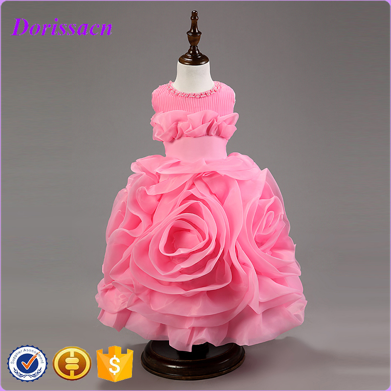 Solid Rose Latest Party Wear Dresses For Girl Baby Kids Western Wear Pink Dress Girls Kids Designer Clothes C-18