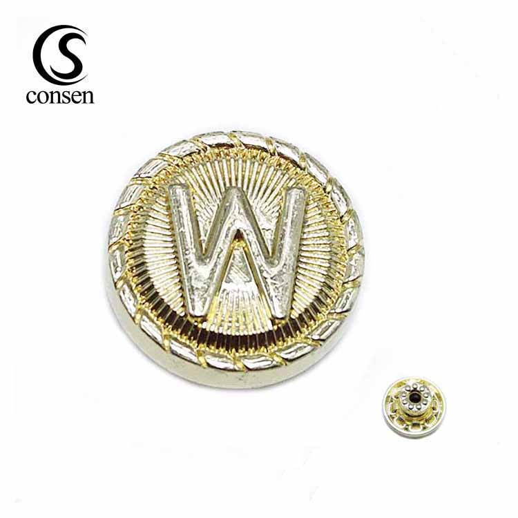 Fashion gold customized emboss logo metal press snap button for jeans