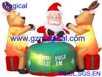 Inflatable Christmas Santa And Reindeer Model
