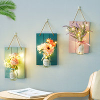 Customized Fairy Lights Design Artifical Flowers Home decoration accessories Wall Ornament with Glass Bottle