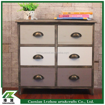 Wooden decorative cabinet with 6-drawers for living room