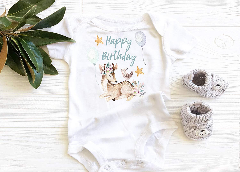 603cb6609 Happy Birthday, 1st Birthday Baby Bodysuit, Boho Baby Girl Onesie, Deer and  Birds