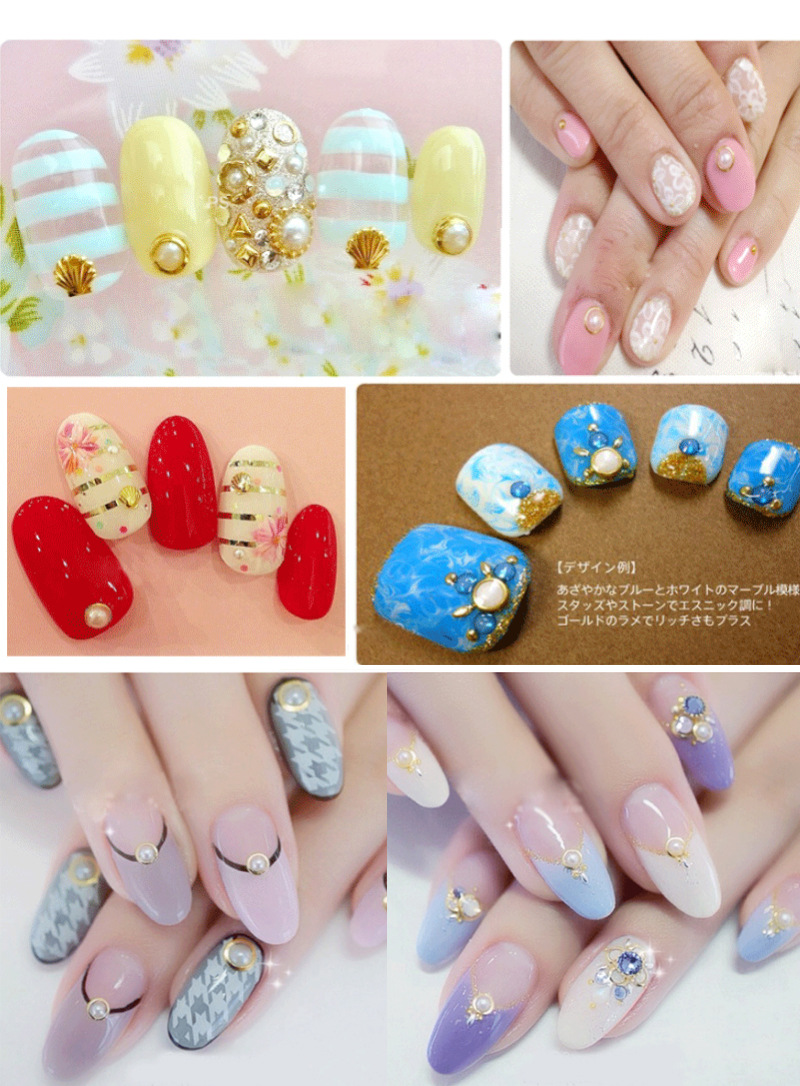 Japanese Style Golden Edge Round-and- square-mixed Shape Pearls Nail Jewelry Nail Glitter