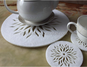 Laser Cut Circle Placemats and Coaster Flames Flower Felt Table Mats