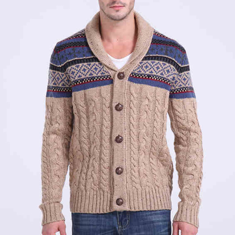 Latest Design Single Breasted Cardigan Style 100% Cotton Men's Sweater