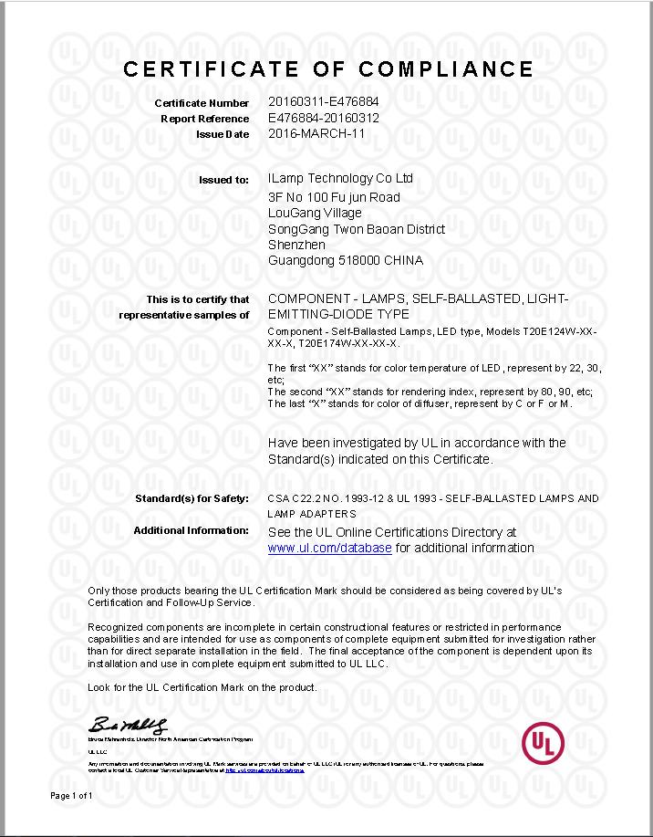 Norma ul led tubular levou filamento da lmpada t10 t20 120 v e12 certificaes fandeluxe Choice Image