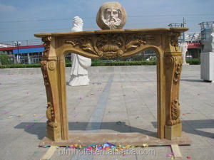 High quality material yellow marble living room fireplace hearth