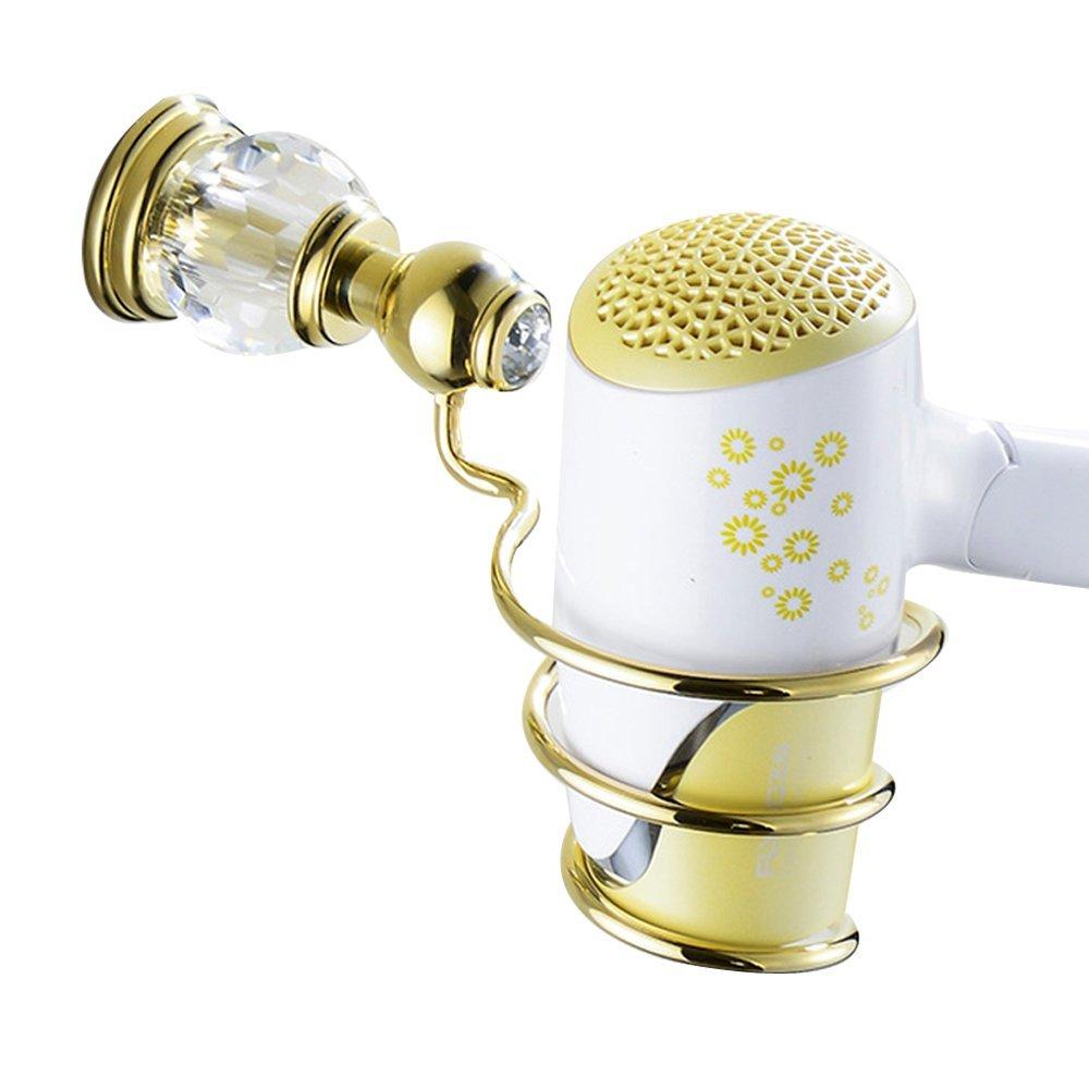 Leyden TM Bathroom Lavatory Luxury Gold Soild Brass Hair Dryer Holder Hairdryer Shelf Hairdryer Organizer Hairdryer Storage, Polished Gold