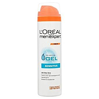 Loreal Men Expert Sensitive Shave Gel With Aloe Vera 200 mL+ Omega Shaving Brush Combo Pack