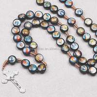 Rebaccas wood christian prayer beads baroque glass pendants 6mm beads wooden rosary necklaces