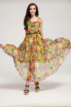 bb166334f225 Summer modern scoop neck print chiffon sleeveless summer dress Slim bohemian  dress fashion women dress QD201505