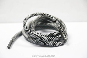 Custom black with white point 5mm soild thick silk cord for shoelace and swimshort