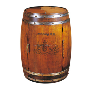 18 Bottles Thermostatic Built In Wooden Wine Barrel Shaped Cooler