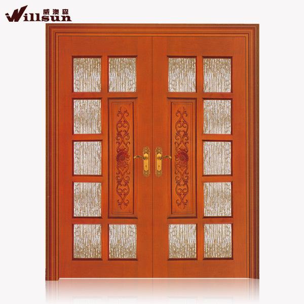 El frente de vidrio puertas exteriores de madera maciza for Puertas dobles de madera interior