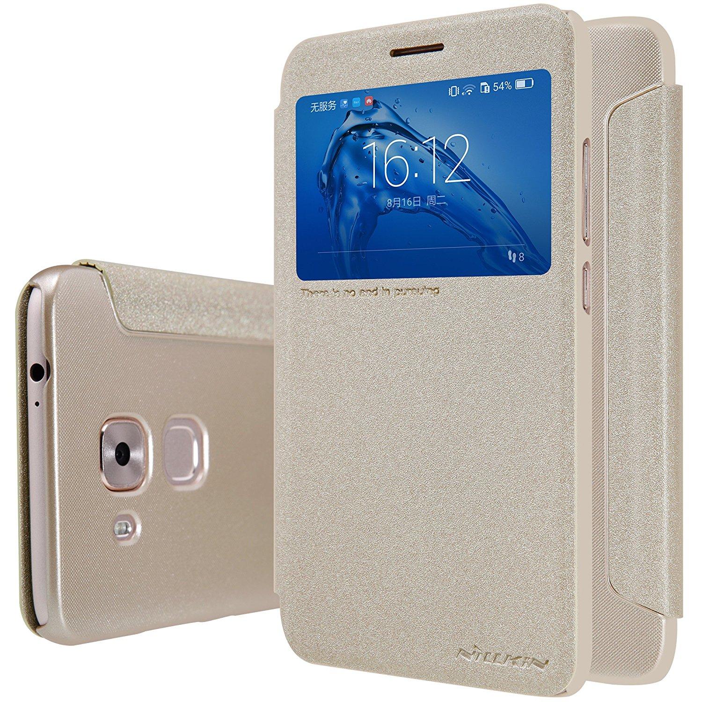NOVA PLUS Case, Starhemei Ultra-Thin PC Back Cover Folio/Flip PU Leather Phone Case Cover For Huawei Nova Plus (Leather-Golden)