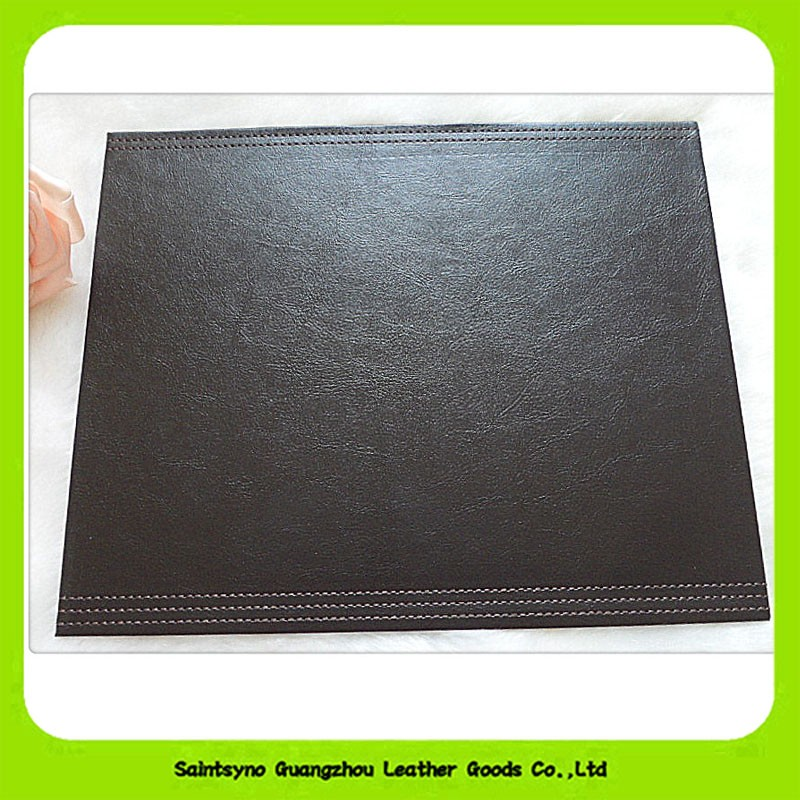 16026 Stylish highly genuine leather emboss cup square coaster