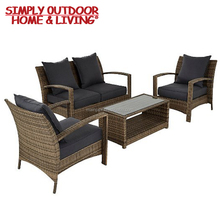 Modern Outdoor/indoor Rattan Furniture 4 Seater Sofa Conversation Sofa Set Designs