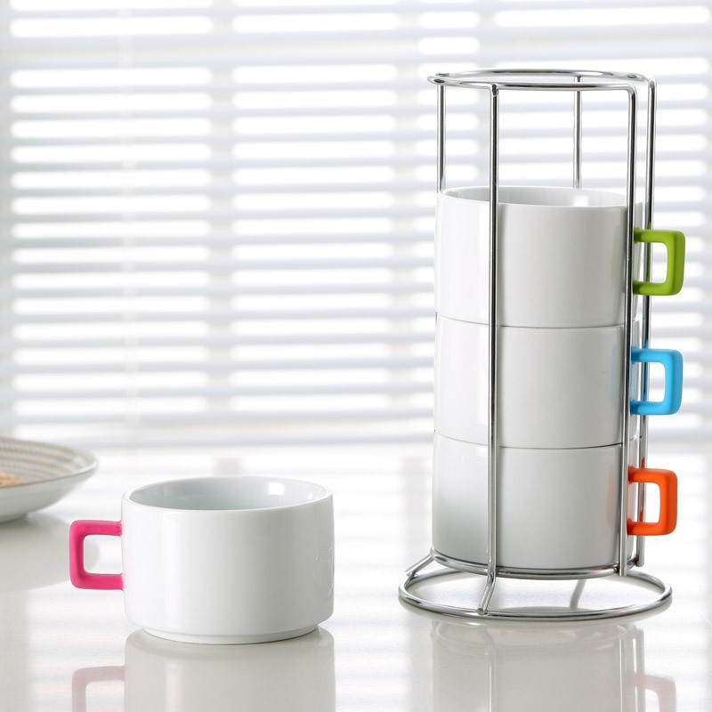 280cc Stackable Coffee Mugs With Rubber Coating Handles And Rack
