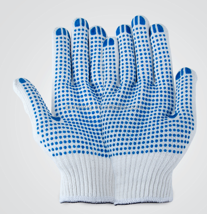 pvc dotted cotton working gloves knitted pvc one side dot work cotton gloves knitted pvc cotton dotted glove