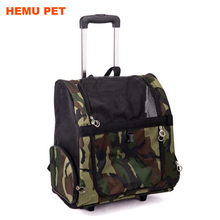 2017 hemu rolling dog cat carrier back pack travel airline wheel bag pet luggage for dogs