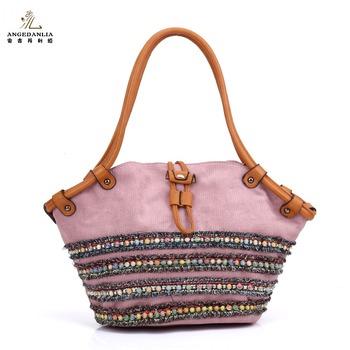 0d9ba8743e27 Дамы необычные хлопок полотно ткани сумки красивые женские сумки с кожаным  ремешком оптовая продажа