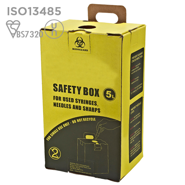 FDA Approved High Quality White 5L Kraft Paper Cardboard Medical Safety Box For Syringes