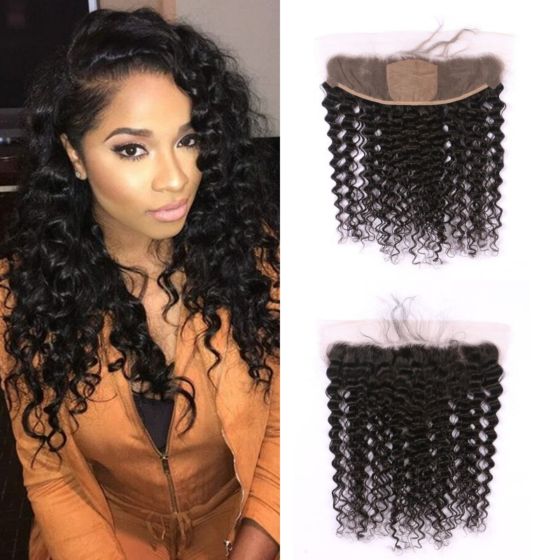 beyonce curl deep curly wave virgin human hair silk lace frontal 100% Non processed top closure, Natural #1b 2 4 6 613 blonde ombre jet black remy with baby hair bangs