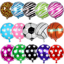 18 inch round shape sports polka dot Solid color helium mylar foil balloon
