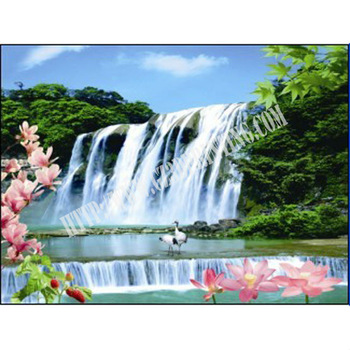Hot sale 3d wall scenery 3d home decoration waterfall 3d hologram pictures ol 010