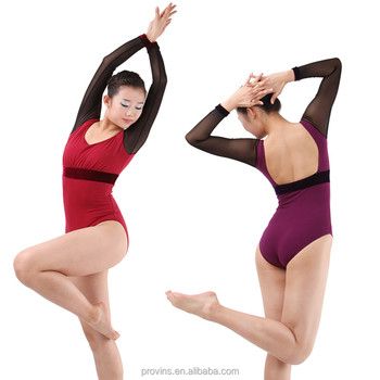 ecbf0ebb2d19 Women New Sexy Long Mesh Sleeve Ballet Leotard Adult Girls - Buy ...